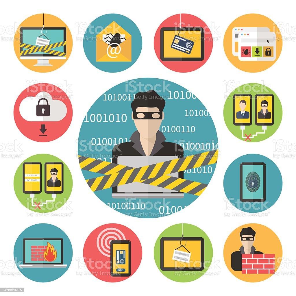 Internet web security vector art illustration