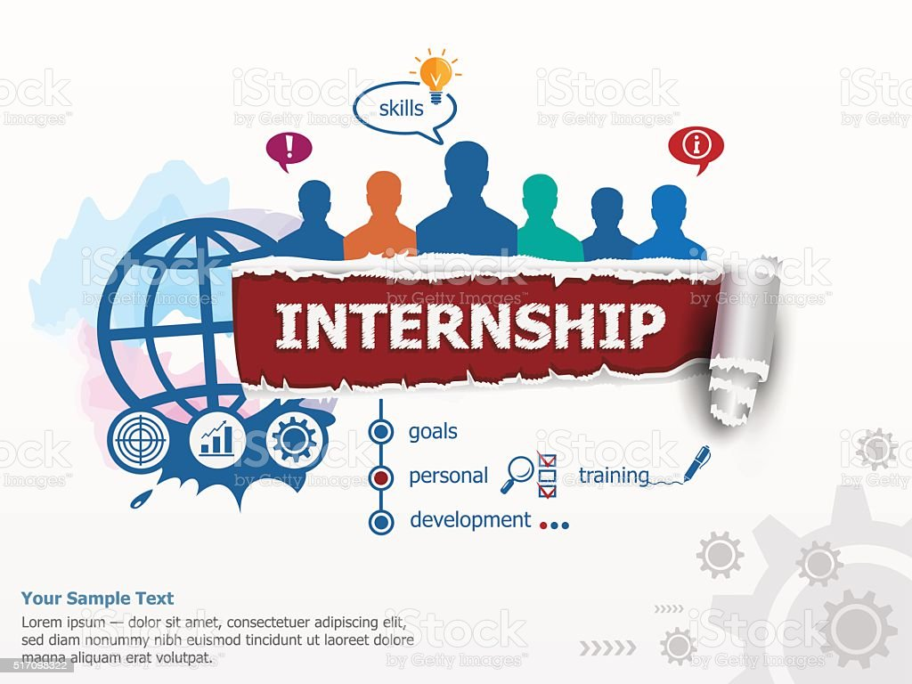Internship concept and group of people. vector art illustration