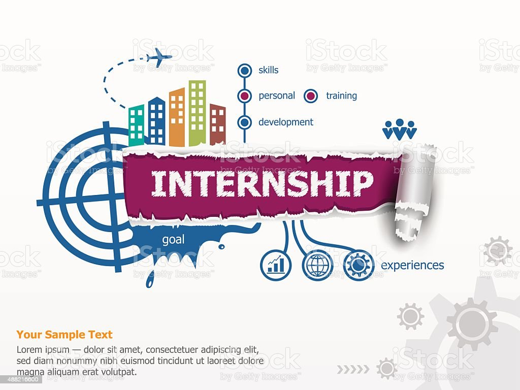 Internship creative concept and breakthrough paper hole with rag vector art illustration