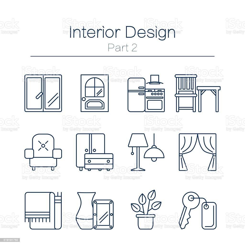 Interor desig icons isolated vector art illustration