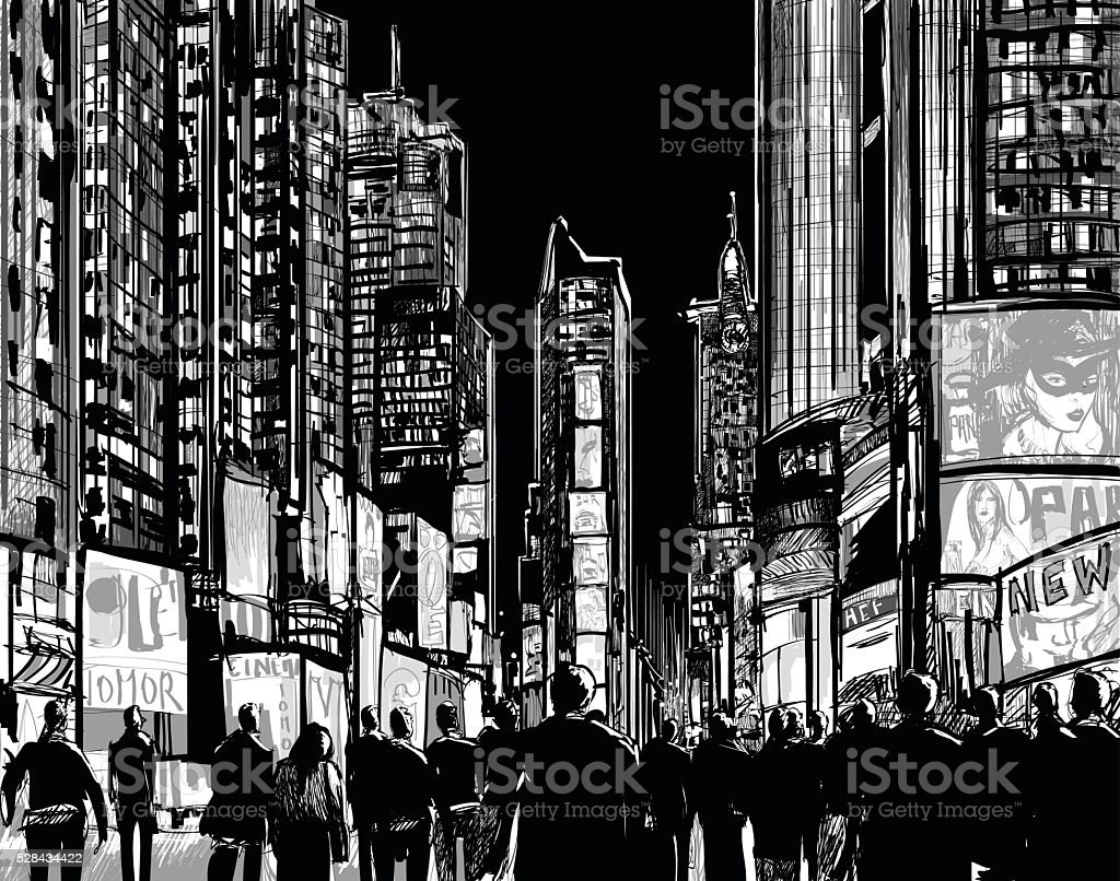 Interpretation of Times Square in New York vector art illustration