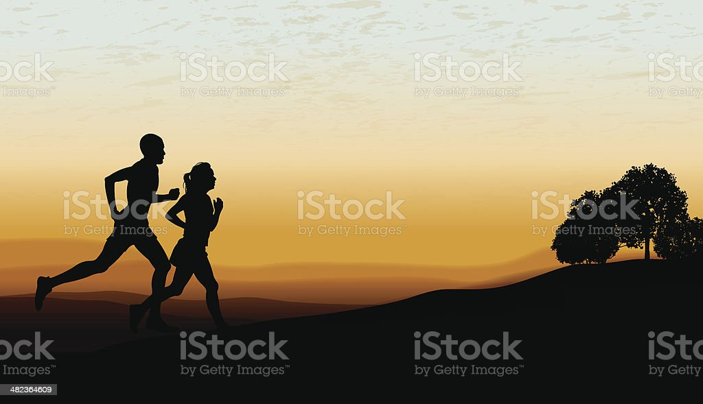Interracial Couple Jogging at Twilight Background royalty-free stock vector art