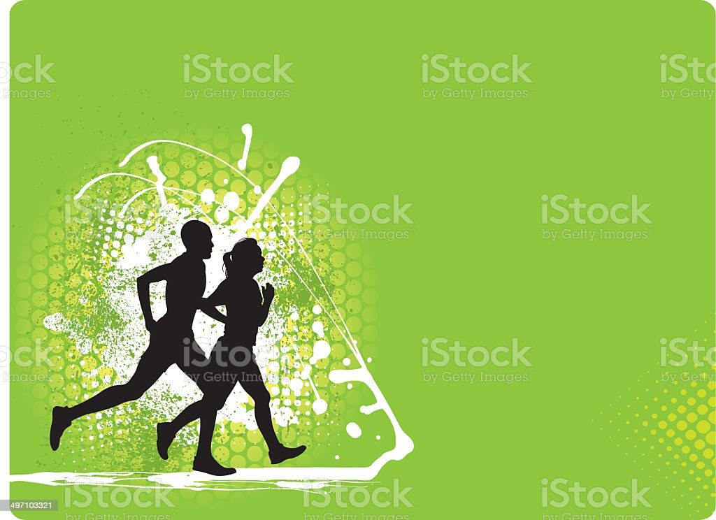 Interracial Couple Jogging Background - Fitness Graphic royalty-free stock vector art