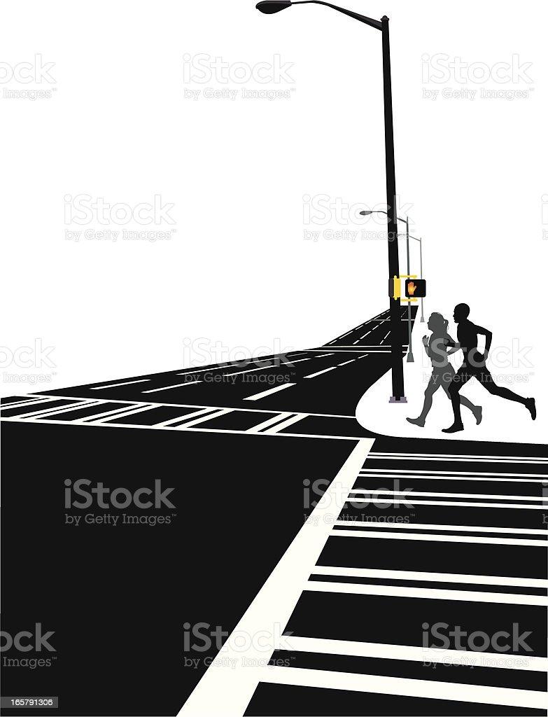 Interracial Couple Jogging Background vector art illustration