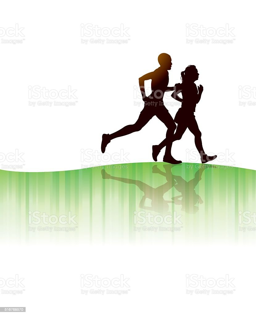 Interracial Couple Jogging Background vector art illustration