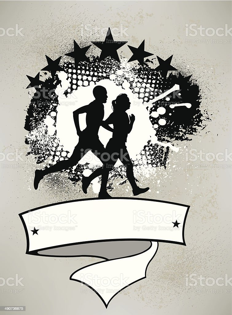 Interracial Couple Jogging - Fitness Graphic royalty-free stock vector art