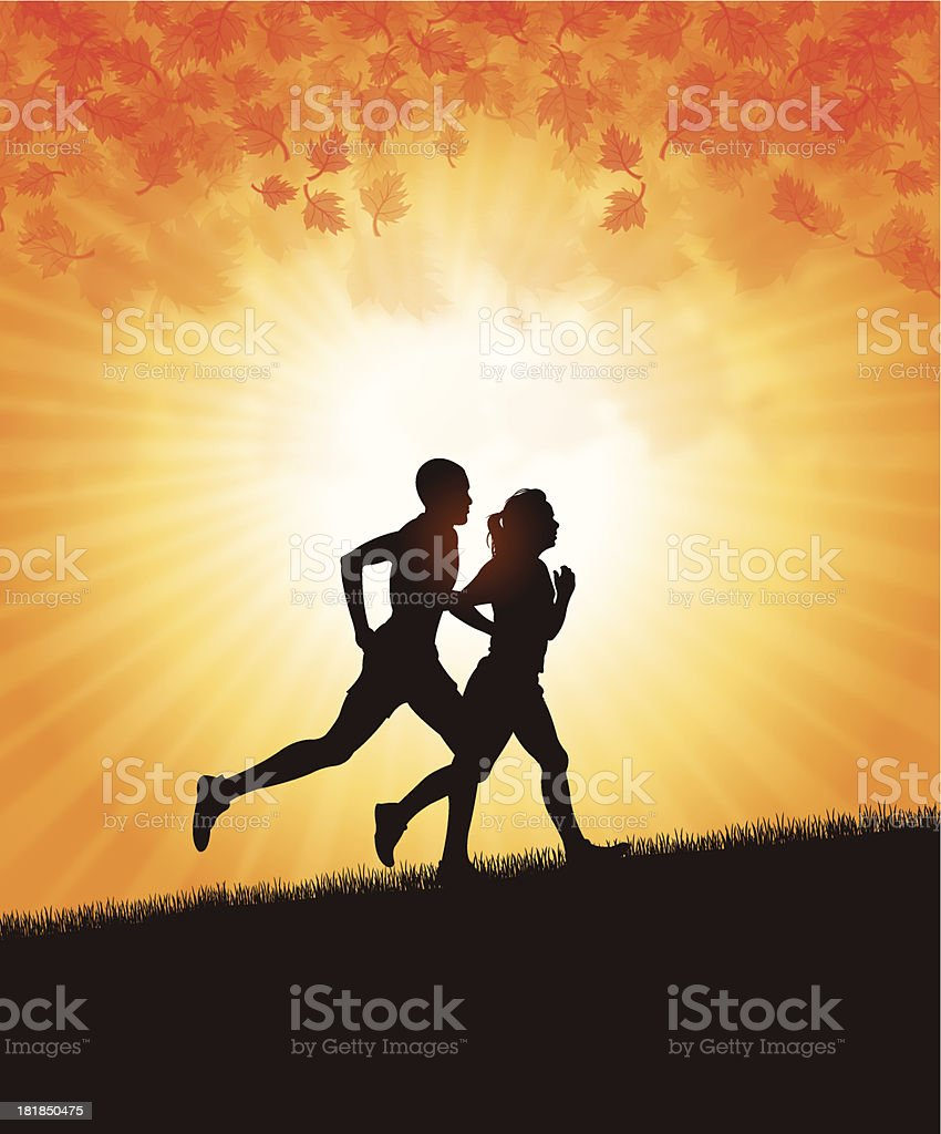 Interracial Couple Jogging in Fall Season - Autumn royalty-free stock vector art