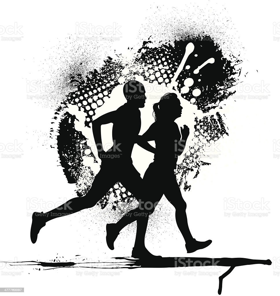 Interracial Couple Jogging with Grunge Background vector art illustration