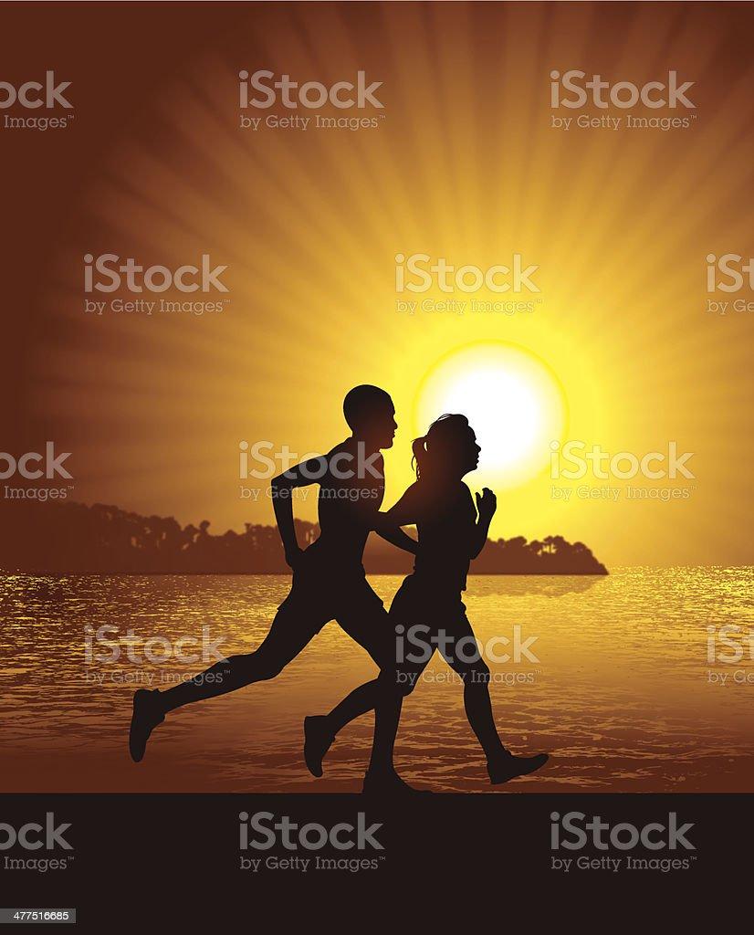 Interracial Heterosexual Couple Jogging at Beach Background royalty-free stock vector art