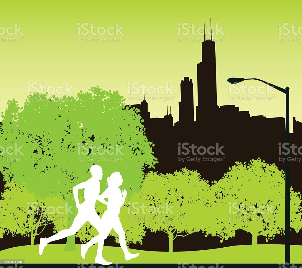 Interracial Joggers in Chicago City Park Background vector art illustration