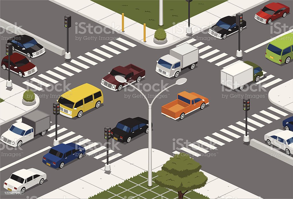 Intersection vector art illustration