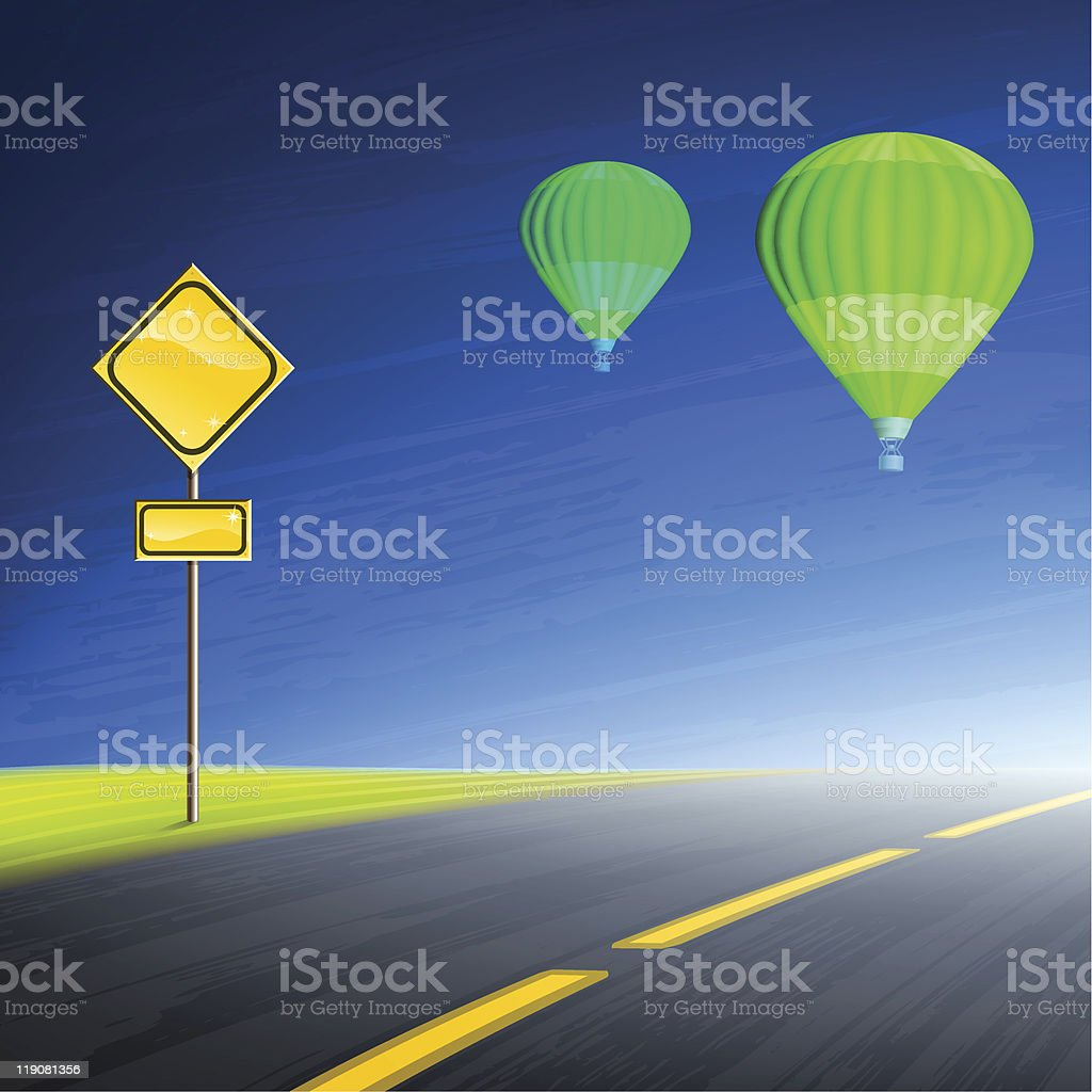 Interstate highway, empty yellow road sign and hot air balloons royalty-free stock vector art