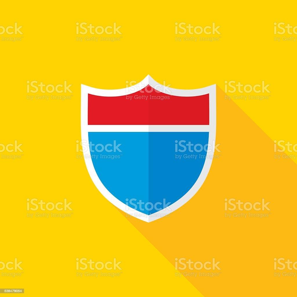 Interstate Road Shield Flat Long Shadow Icon vector art illustration