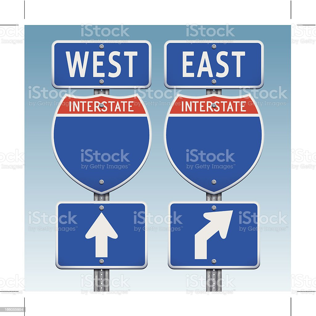 USA interstate road signs going west and east vector art illustration