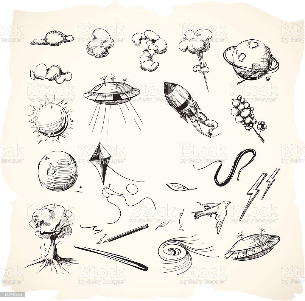 Interstellar Sketches or Drawings royalty-free stock vector art