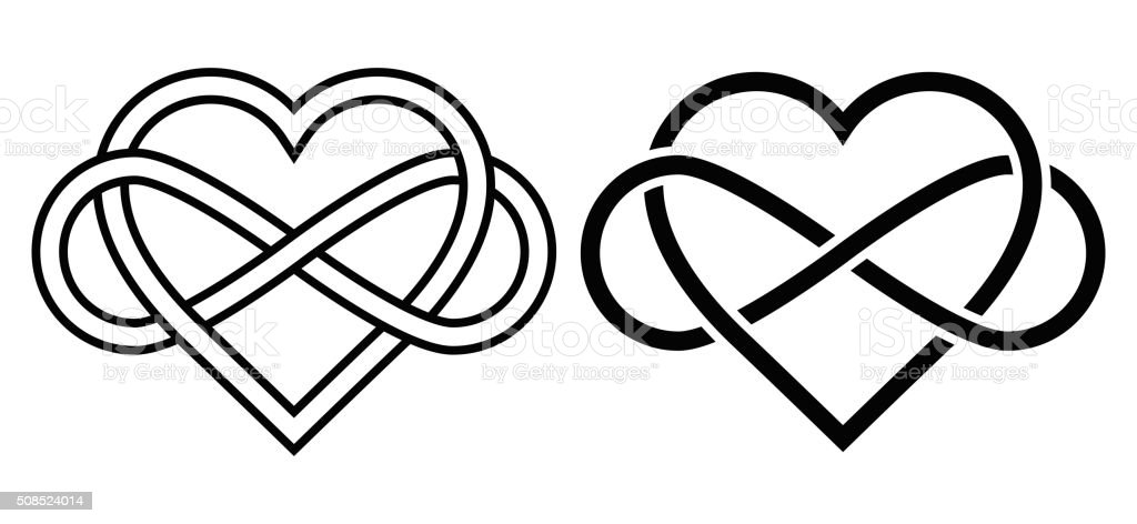 Intertwined Heart with The Sign of Infinity vector art illustration