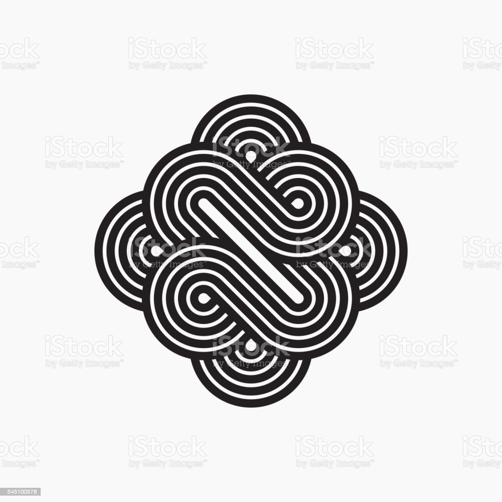Intertwined symbol, stripy line art vector art illustration