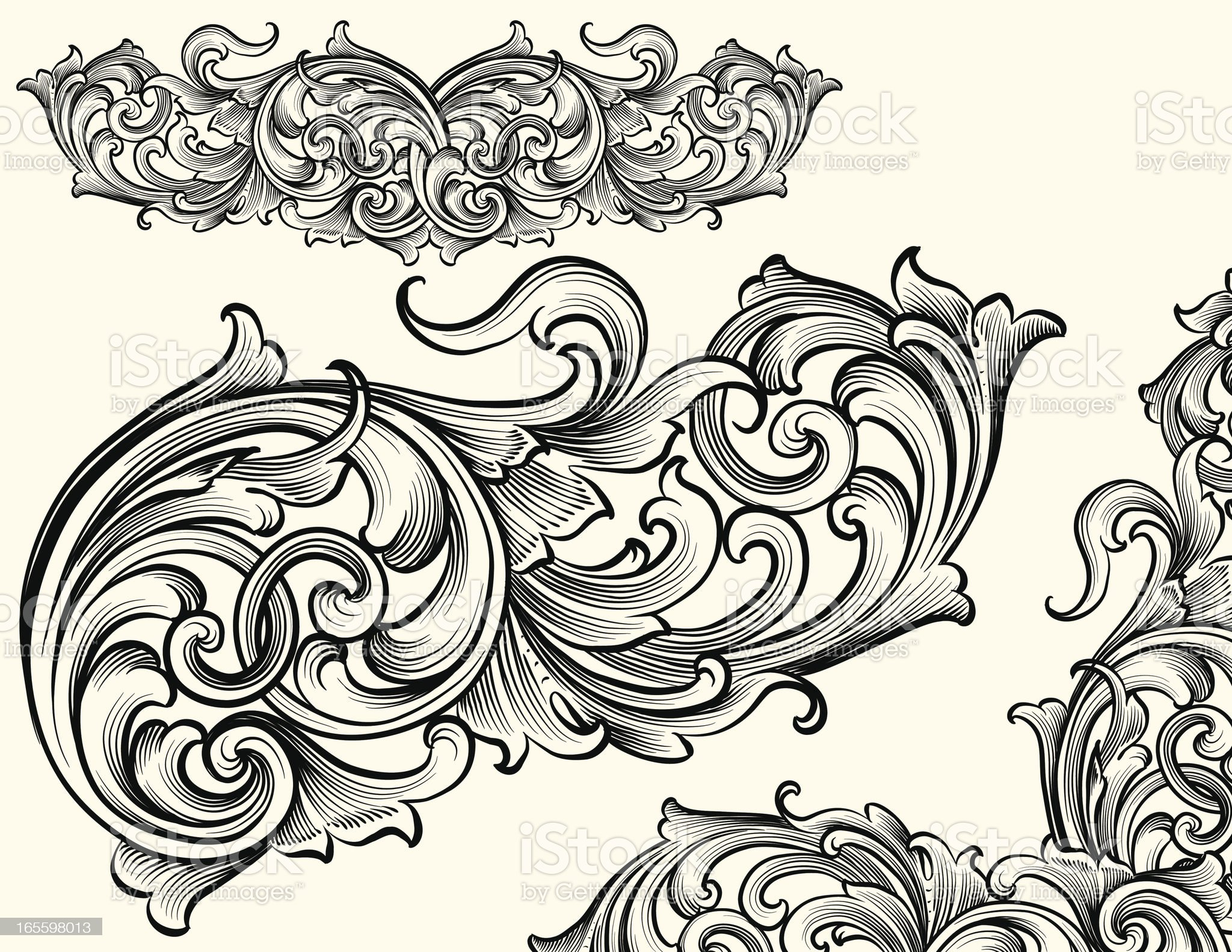 Intertwining Detailed Scroll royalty-free stock vector art