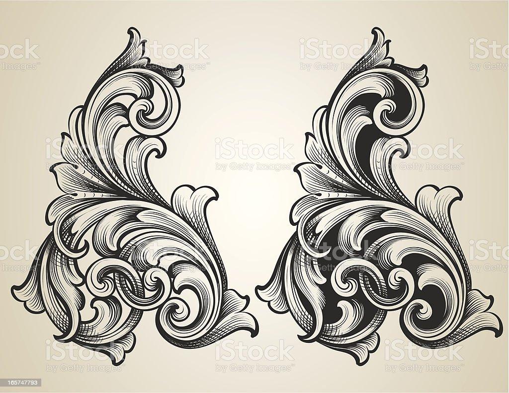 Intertwining Engraved Scrolls royalty-free stock vector art