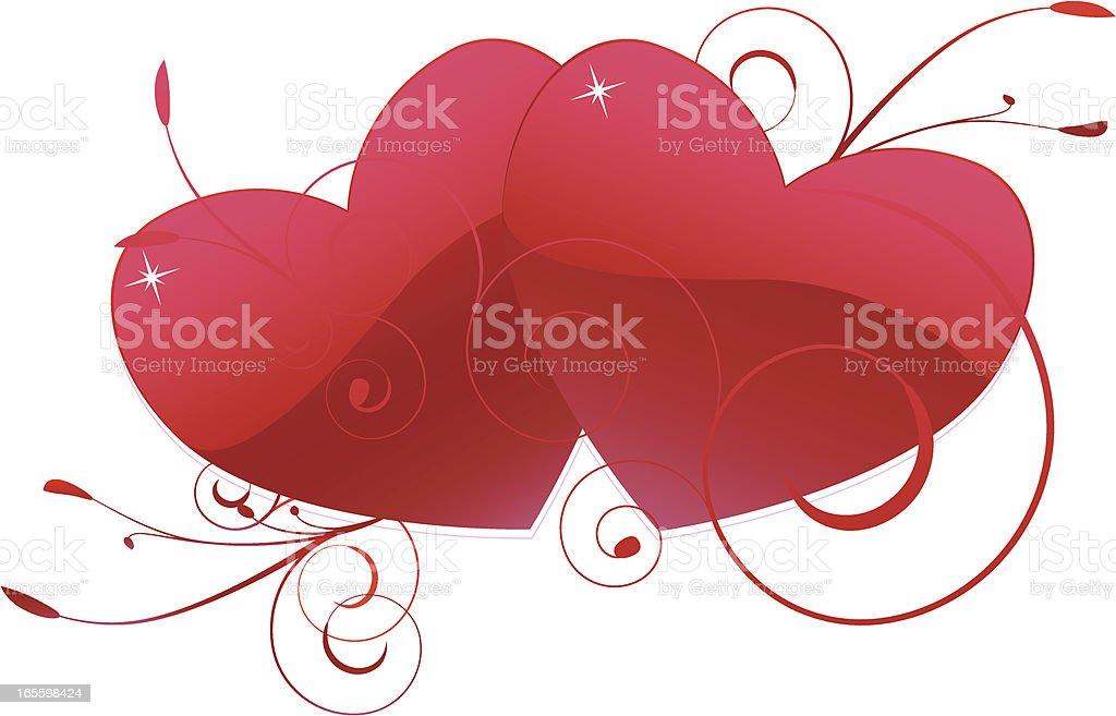 Intertwining Rote Herzen und -Verzierungen Lizenzfreies vektor illustration
