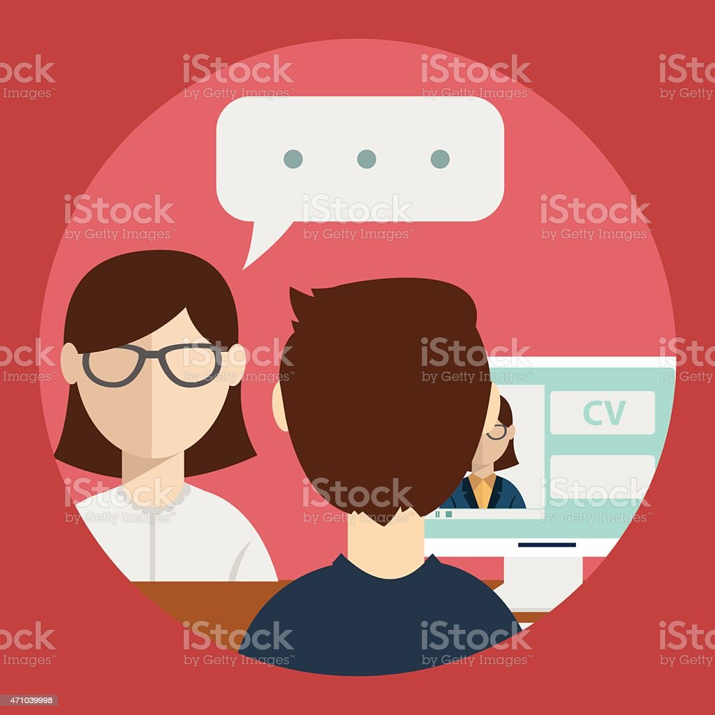 interview with the candidate positions. job interview. vector art illustration