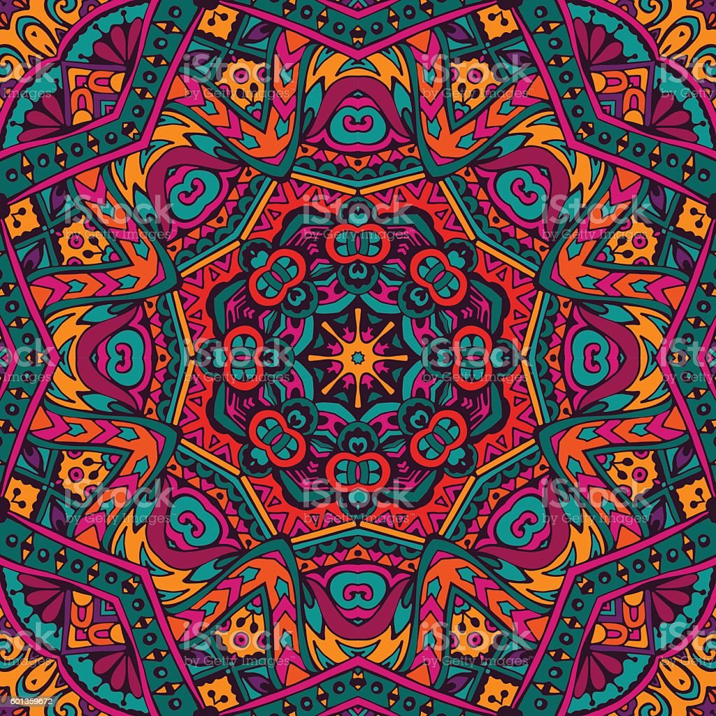 inticate seamless pattern mandala vector art illustration