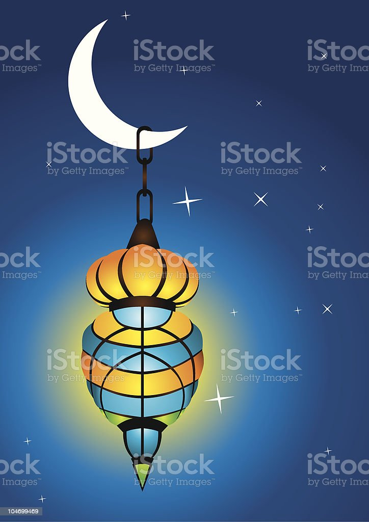 Intricate arabic lamp with moon crescent vector art illustration