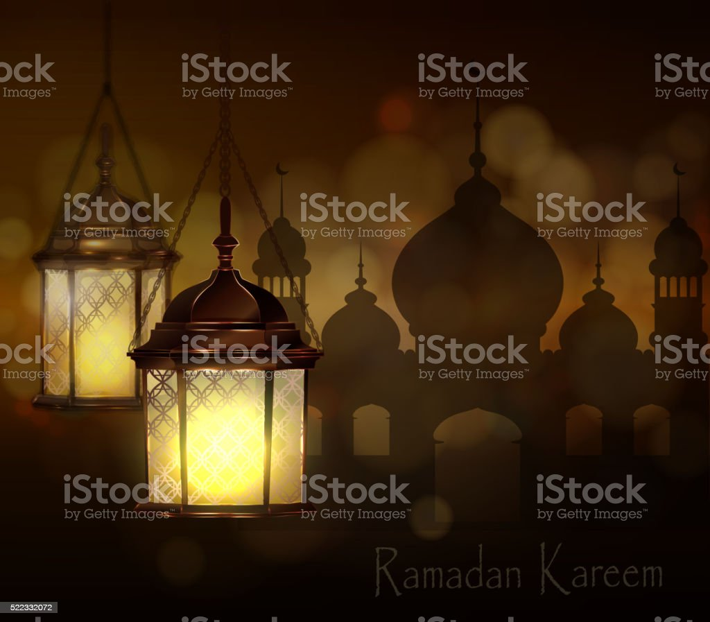 Intricate Arabic lamps with lights vector art illustration
