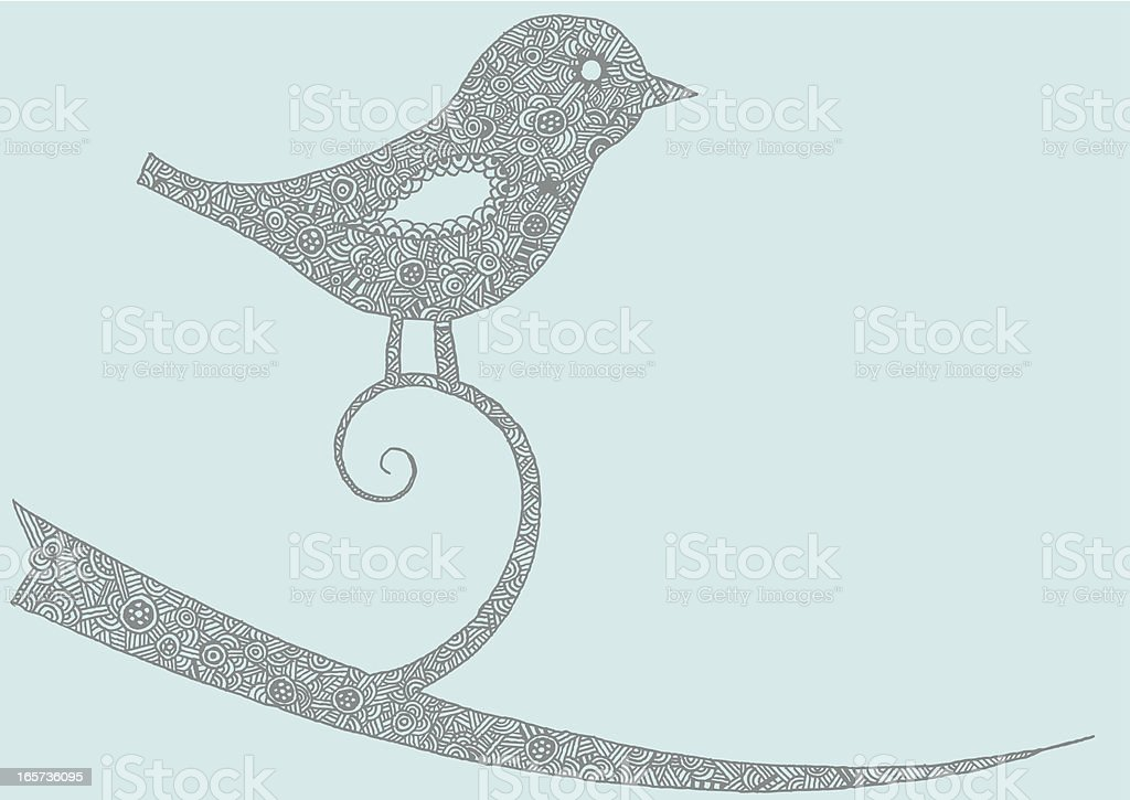 Intricate birdy on a twig illustration royalty-free stock vector art