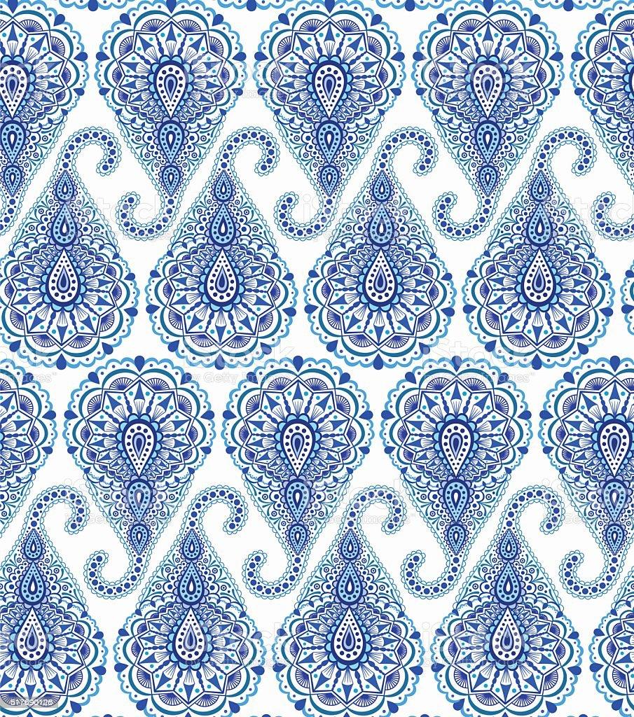Intricate Blue Paisley Pattern vector art illustration
