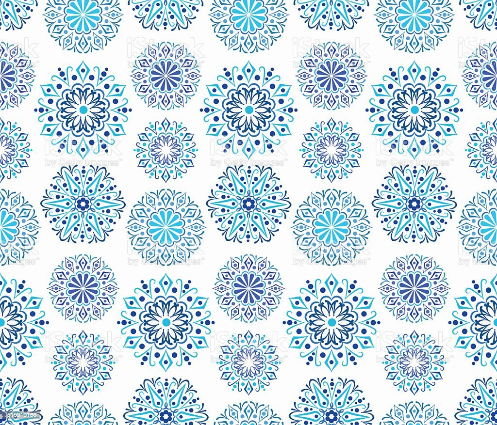 Intricate Blue Round ornaments vector art illustration