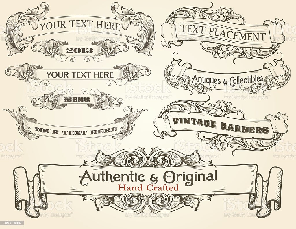 Intricate Engraved Text Banners vector art illustration