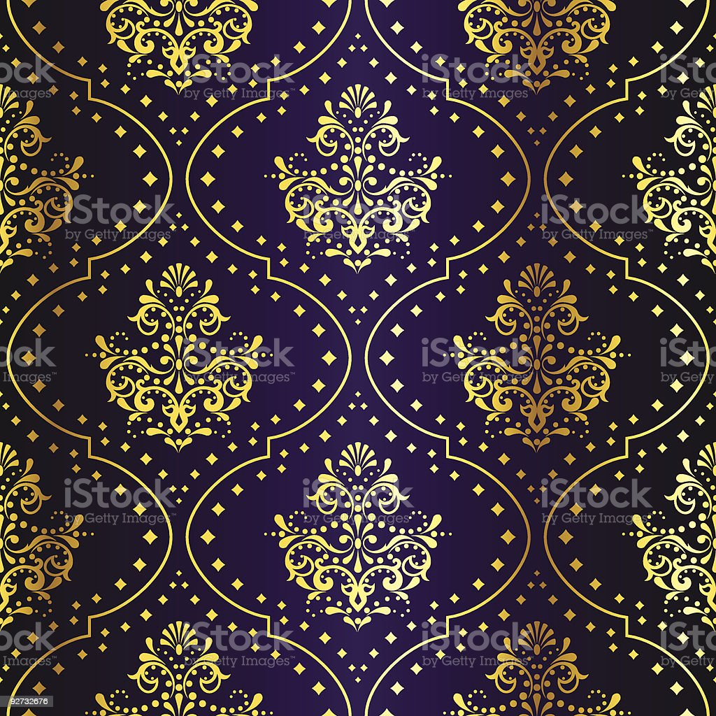 Intricate gold and purple sari pattern vector art illustration