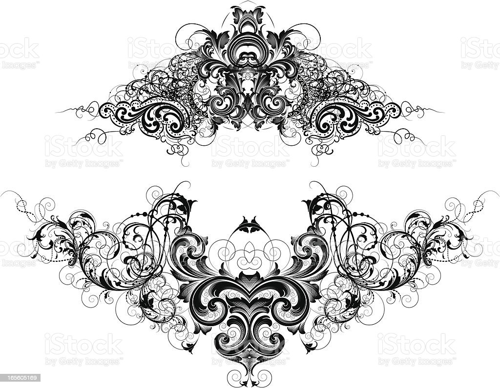 Intricate Headers vector art illustration