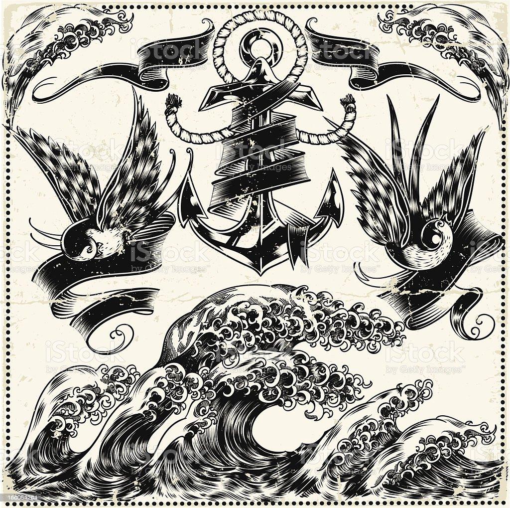 Intricate illustration of nautical symbols royalty-free stock vector art