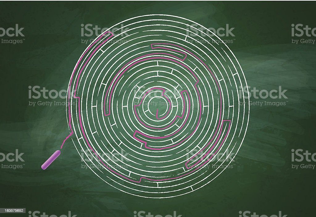 Intricate maze over chalkboard royalty-free stock vector art