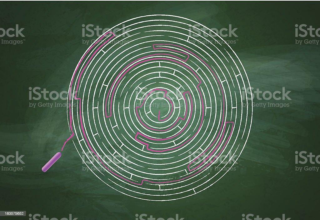 Intricate maze over chalkboard vector art illustration