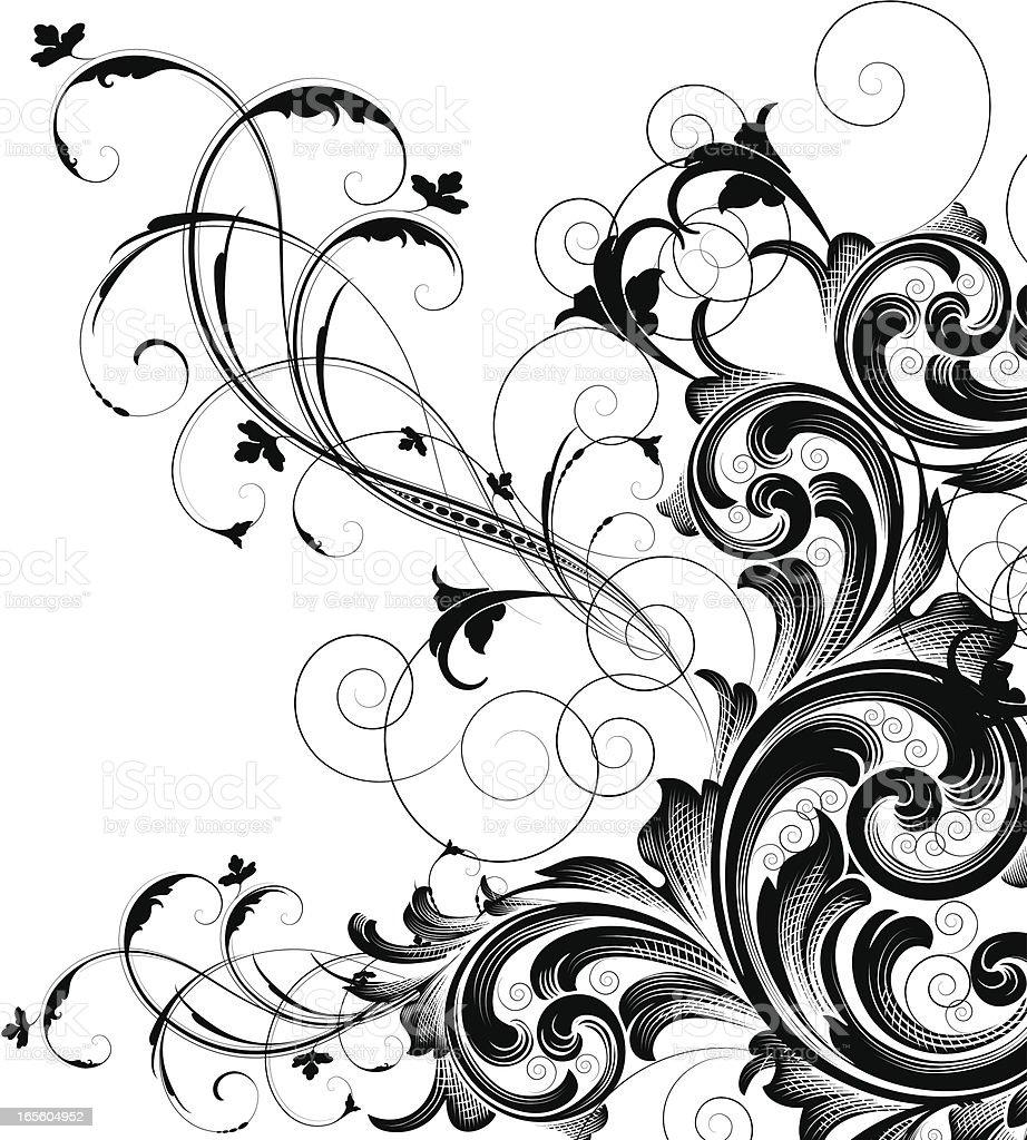 Intricate Scroll Corner royalty-free stock vector art