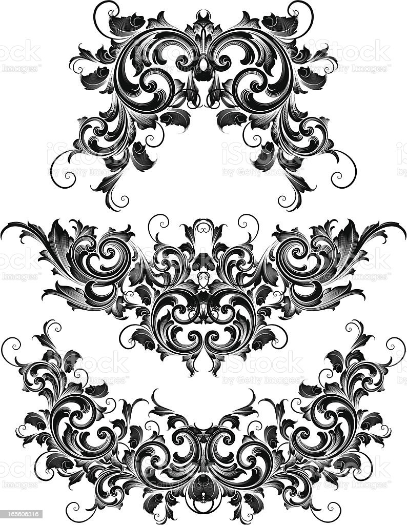 Intricate Scroll Symmetry royalty-free stock vector art