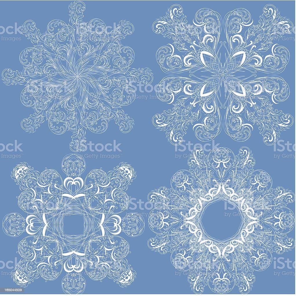 Kunstvollen Schneeflocken Lizenzfreies vektor illustration