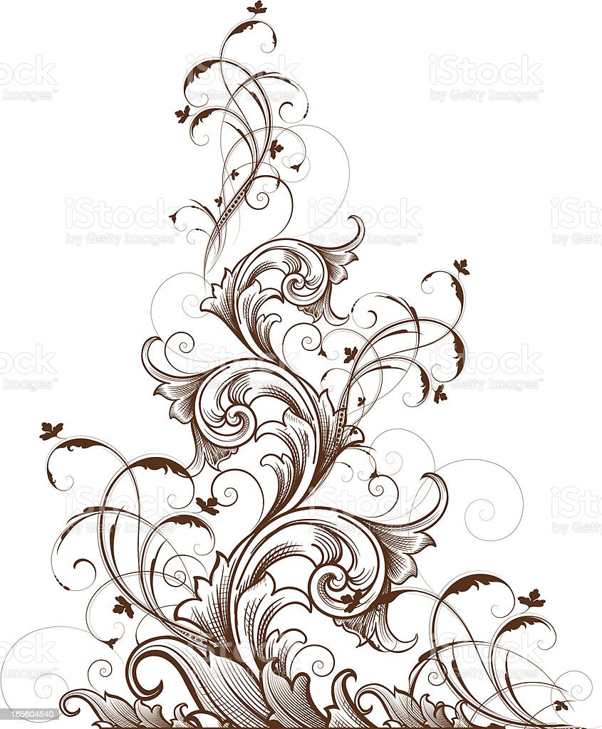 Intricate Tapered Scroll vector art illustration
