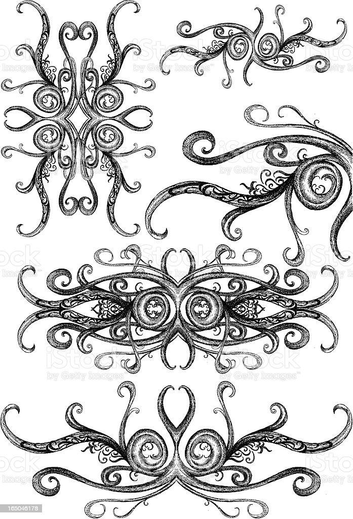 intricate vectorian ornaments vector art illustration