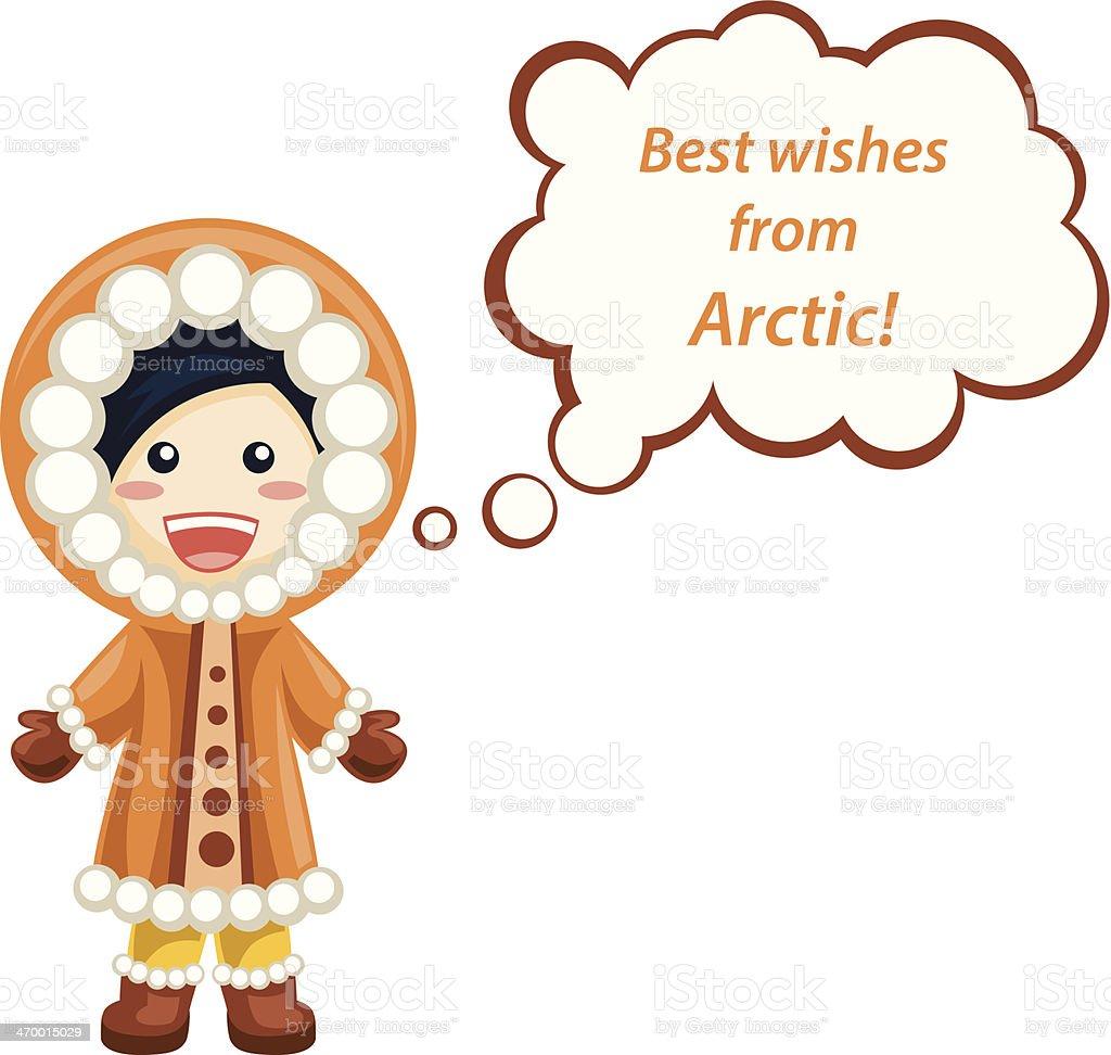 Inuit girl with speech bubble vector art illustration