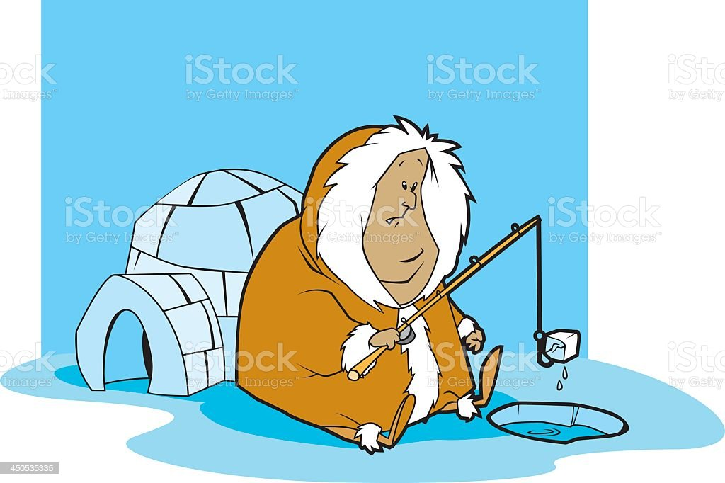 Inuit Man Catches An Ice Cube royalty-free stock vector art