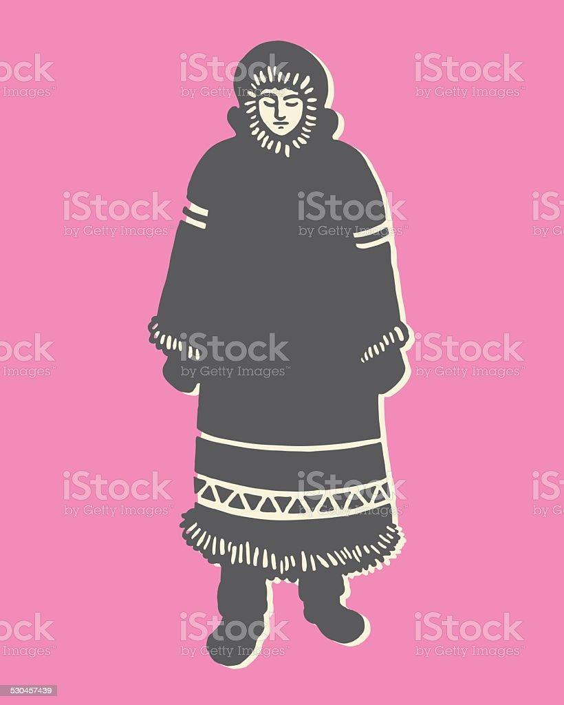 Inuit Woman In Long Coat vector art illustration