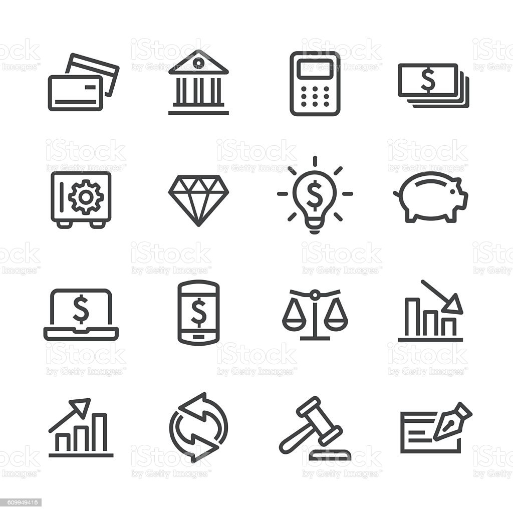 Investing and Finance Icons Set - Line Series vector art illustration