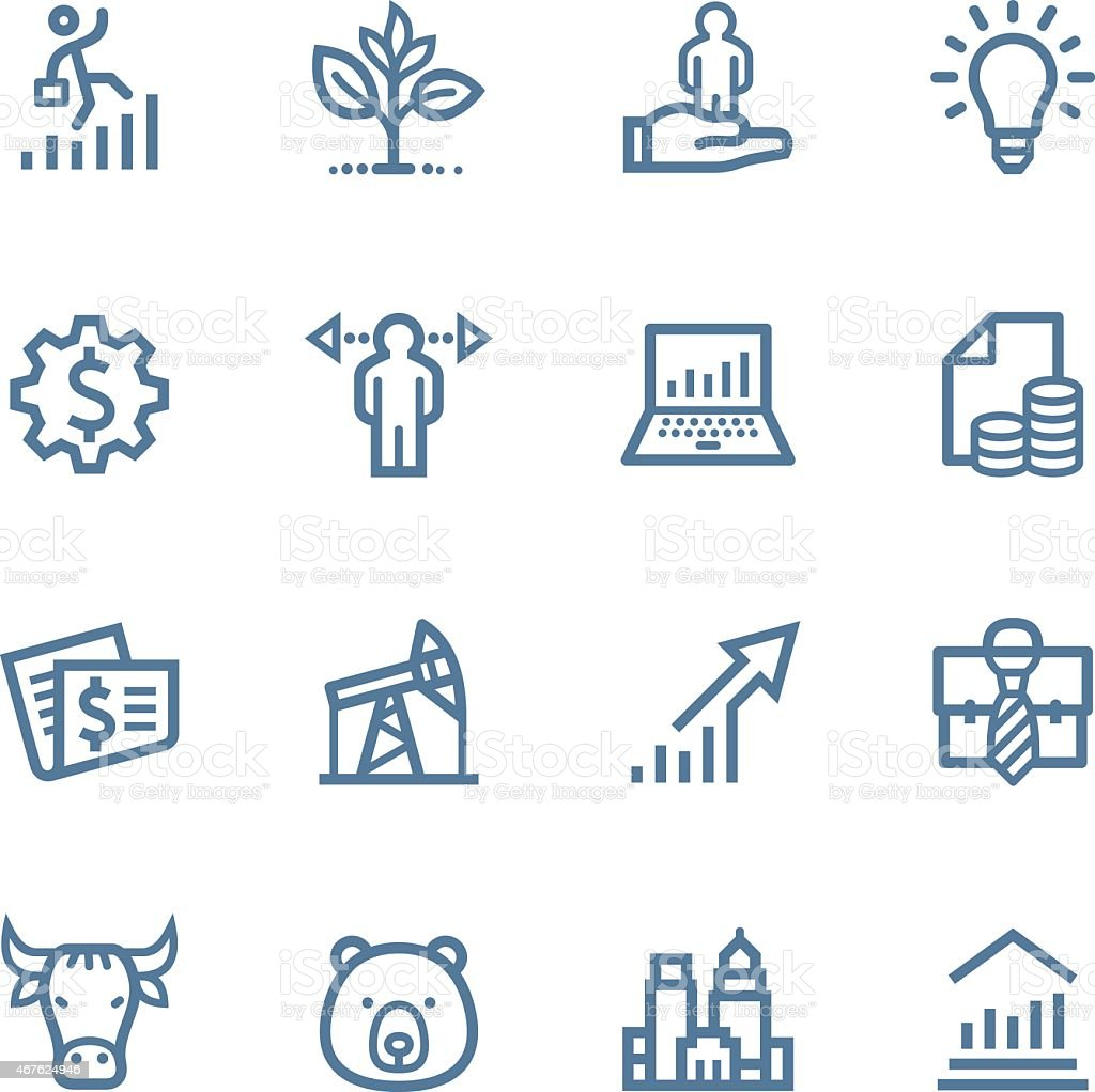 Investing and Finance Line icons vector art illustration