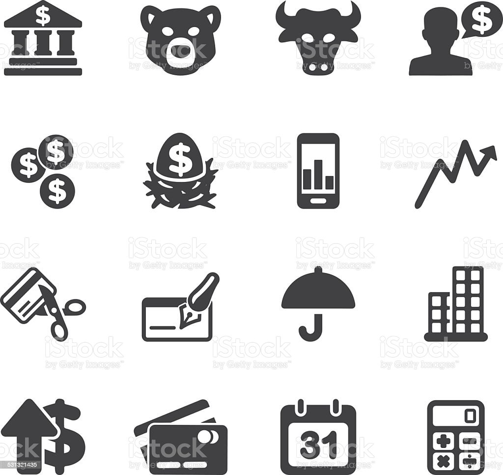 Investing and Finance Silhouette icons | EPS10 vector art illustration