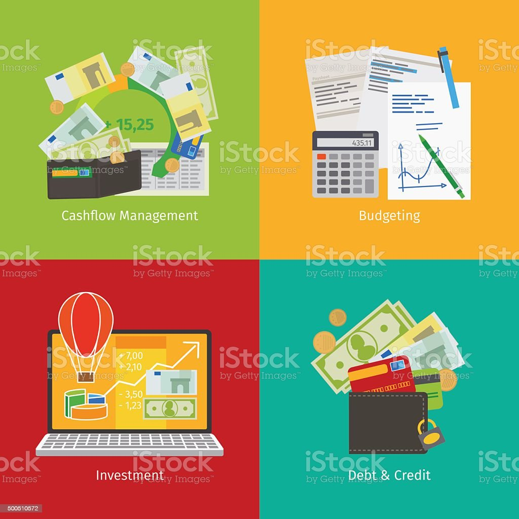 Investing and Personal Finance vector art illustration