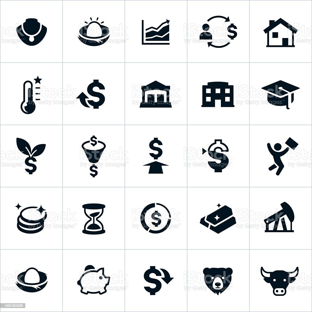 Investing Icons vector art illustration